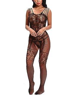 Firstbuy Women Sexy Lingerie Fishnet Bodysuit Bodystocking Crotchless  Chemise Babydoll Free Size 87935a7e7