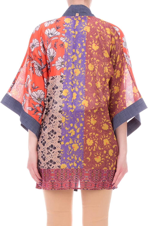 MANILA GRACE Camicia Kimono in Cotone Voile A Fantasia MOD. C084CS Malva Giallo