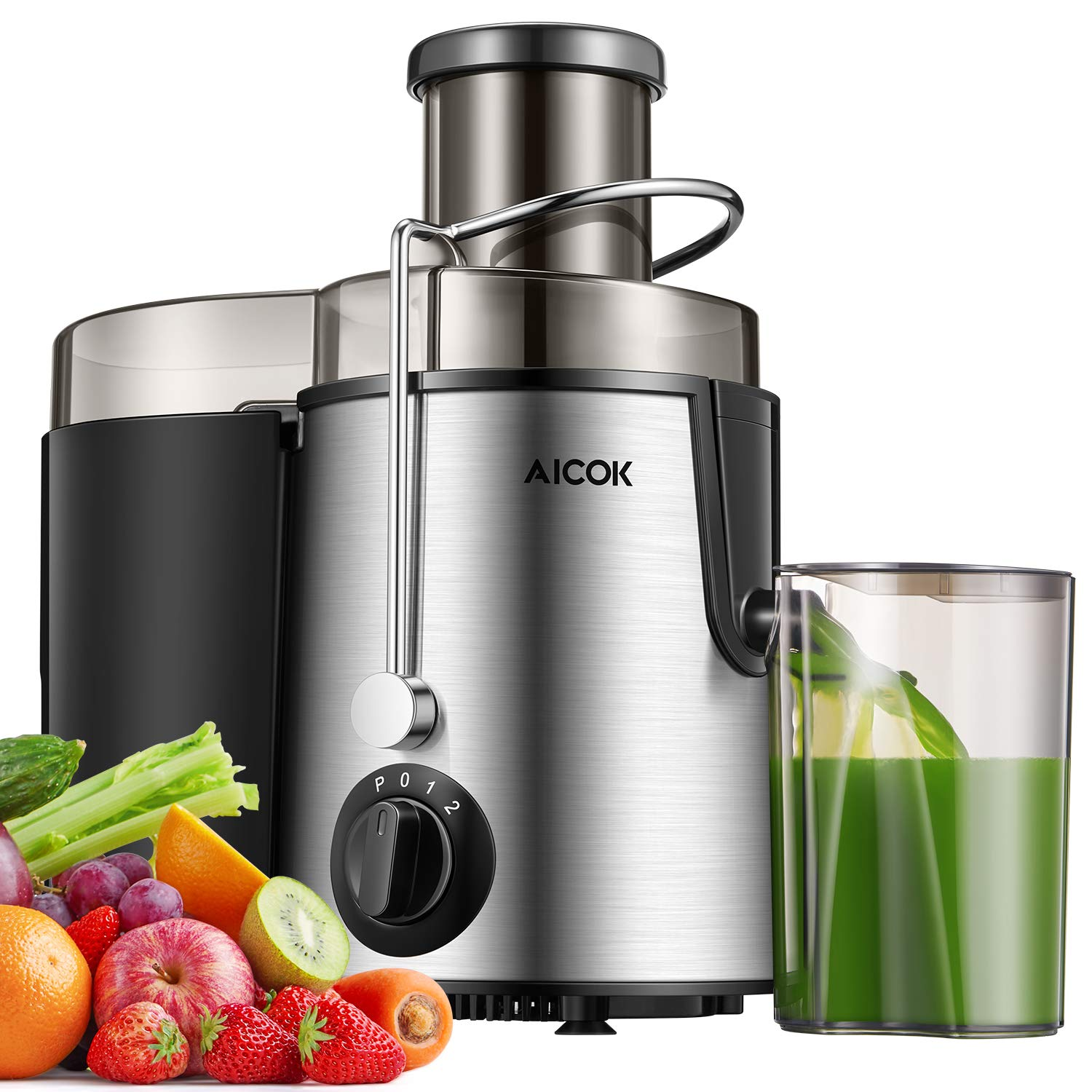 AICOK Juicer Centrifugal Juicer Wide Mouth Three Speed Juicer Machine, BPA Free Stainless Steel Juice Extractor for Fruits and Vegetable, Non-Slip Feet