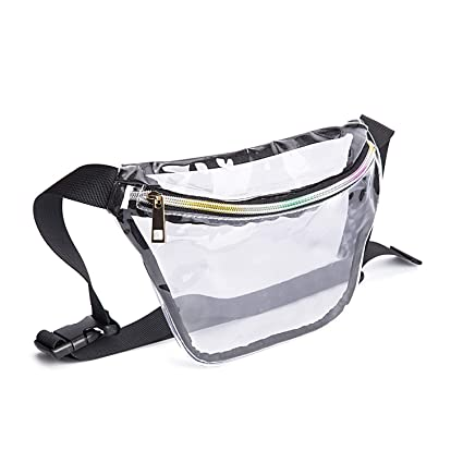 f650aa4caefb Holographic Cool Style Transparent fanny pack For Women Girls 80s Festival  Rave Personality Fashion Waist Belt bag-PVC Transparent