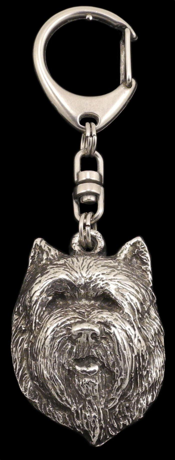 Cairn Terrier (Front), Silver Hallmark 925, Silver Dog Keyring, Keychain, Limited Edition, Artdog