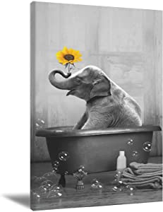 Elephant Wall Art Sunflower Poster Abstract Canvas Painting Funny Animals Wall Decor Yellow Sunflower Wall Art Black And White Painted Picture Frameless for Bathroom Decorations 16X24Inch
