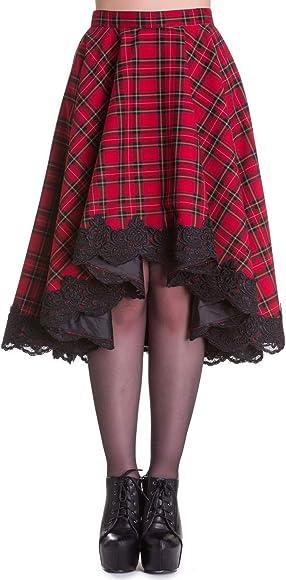 L Red Tartan Hell Bunny Mini Skirt Kilt 8 10 12 14 16  punk goth plaid XS