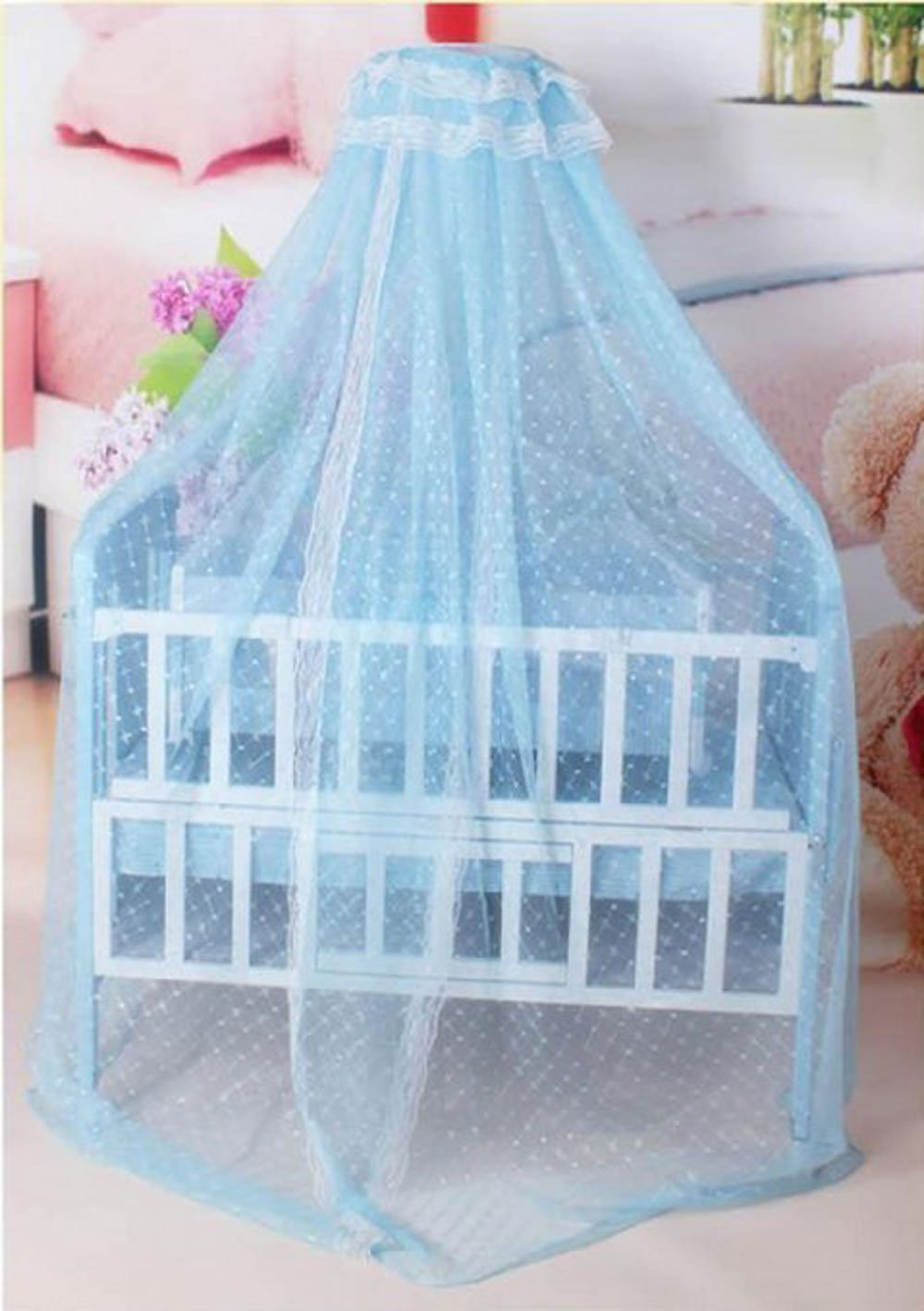 Baby Mosquito Net Baby Toddler Bed Crib Dome Canopy Netting (Blue)