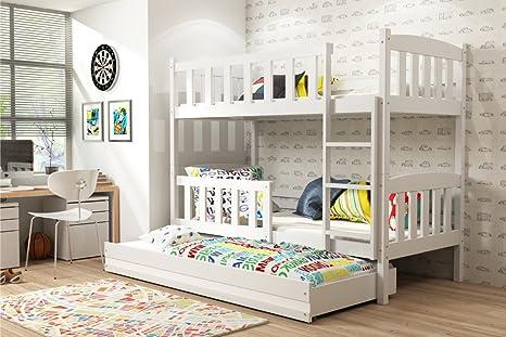Cama Triple Giacomino 190 x 90, cuna a Castillo para niños y jóvenes, dormitorio