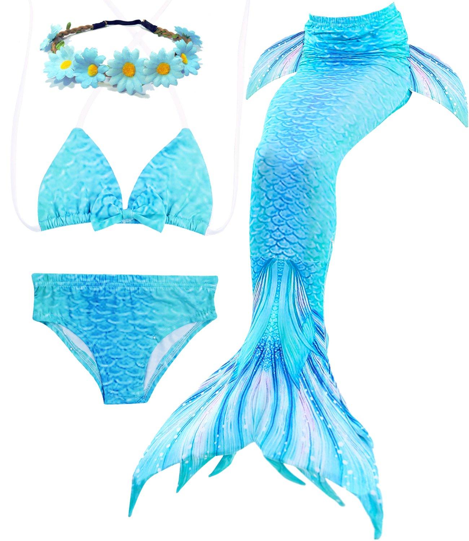 bd9b7c1d634db Galleon - Jeferym 4PCs Girls Mermaid Swimsuits For Swimming Bikini Set For  Toddler Teen Girls Can Add Monofin D Light Blue 3-4 Years 110