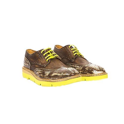 UominiItaliani - Hombres Elegante Vintage Mocasin zapatos de cuero con cordones Made in Italy - Mod. 1256 2356 fNew Air: Amazon.es: Zapatos y complementos