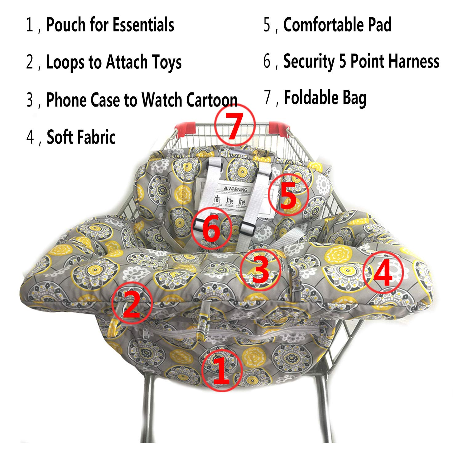 Compact and Cushy by MurphyFine Boy//Girl Design Foldable Portable Seat with Bag for Infant to Toddler Shopping Cart Cover For Baby- 2-in-1 Compatible with Grocery Cart Seat and High Chair