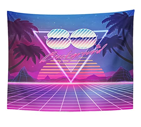 Emvency Tapestry 80s Retro Sci Fi With Summer Landscape