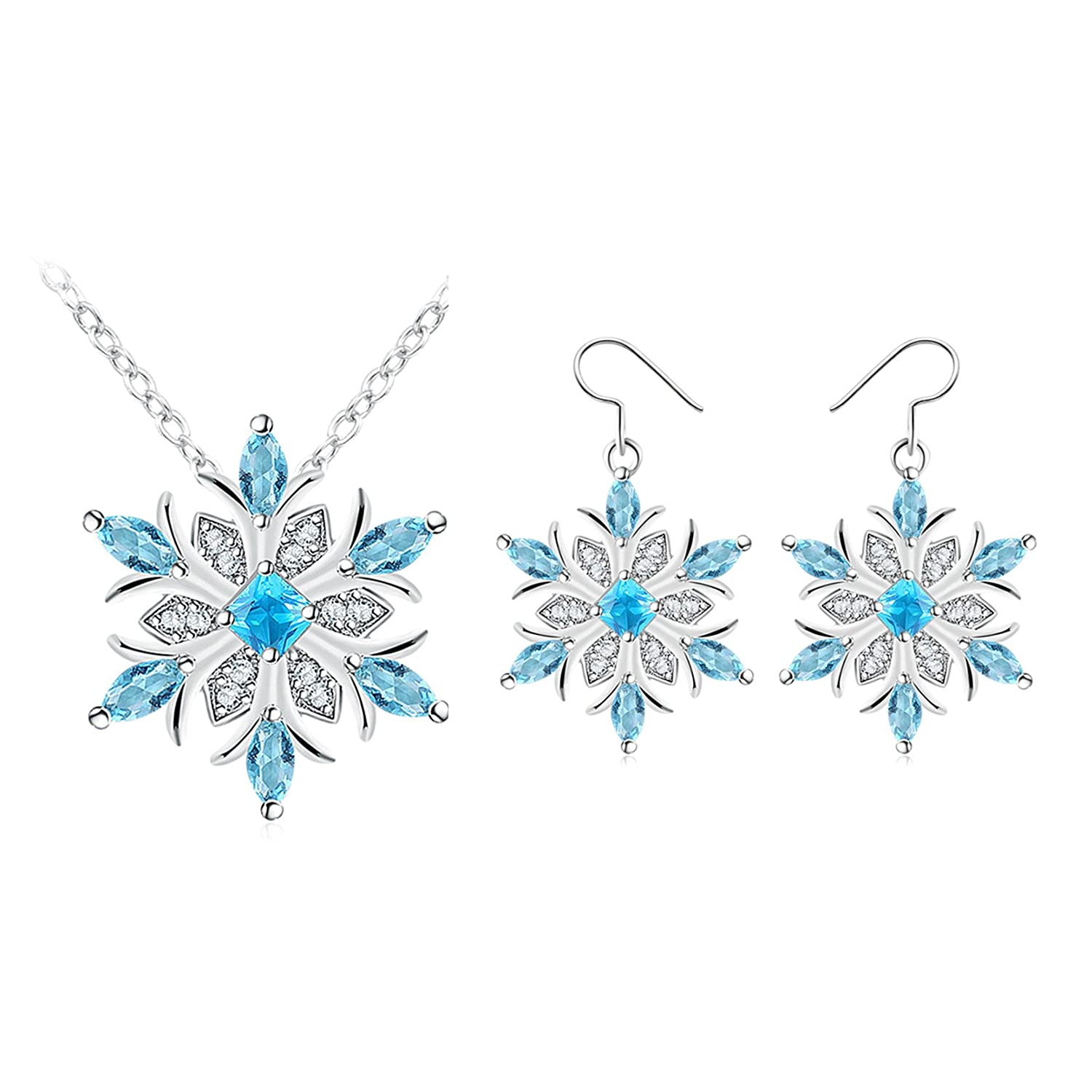 Jiayiqi Women Jewelry Set Crystal Inlay Silver Plated Earrings Necklace Set 14K50PM47D0KW301CRMMA1JX