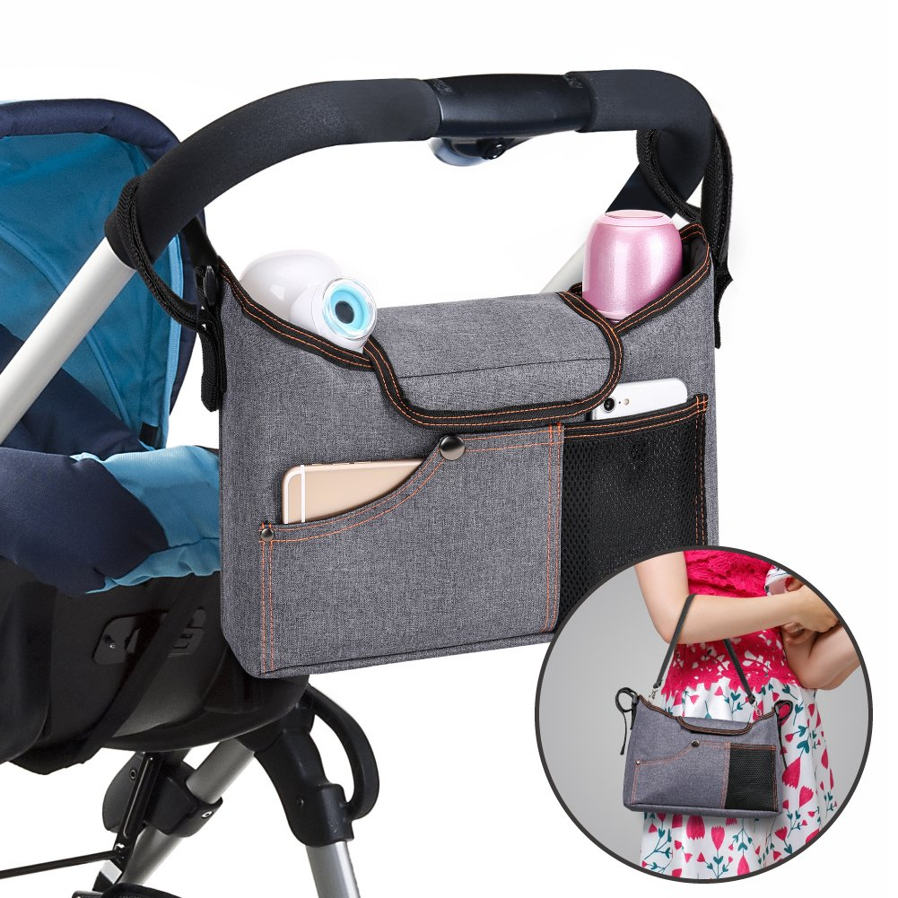 Stroller Organiser , Jerrybox Pram Buggy Buddy Storage Bag With Mobile Phone Holder  PLUS Leather Strap UKJS-PH9200241LIT1121