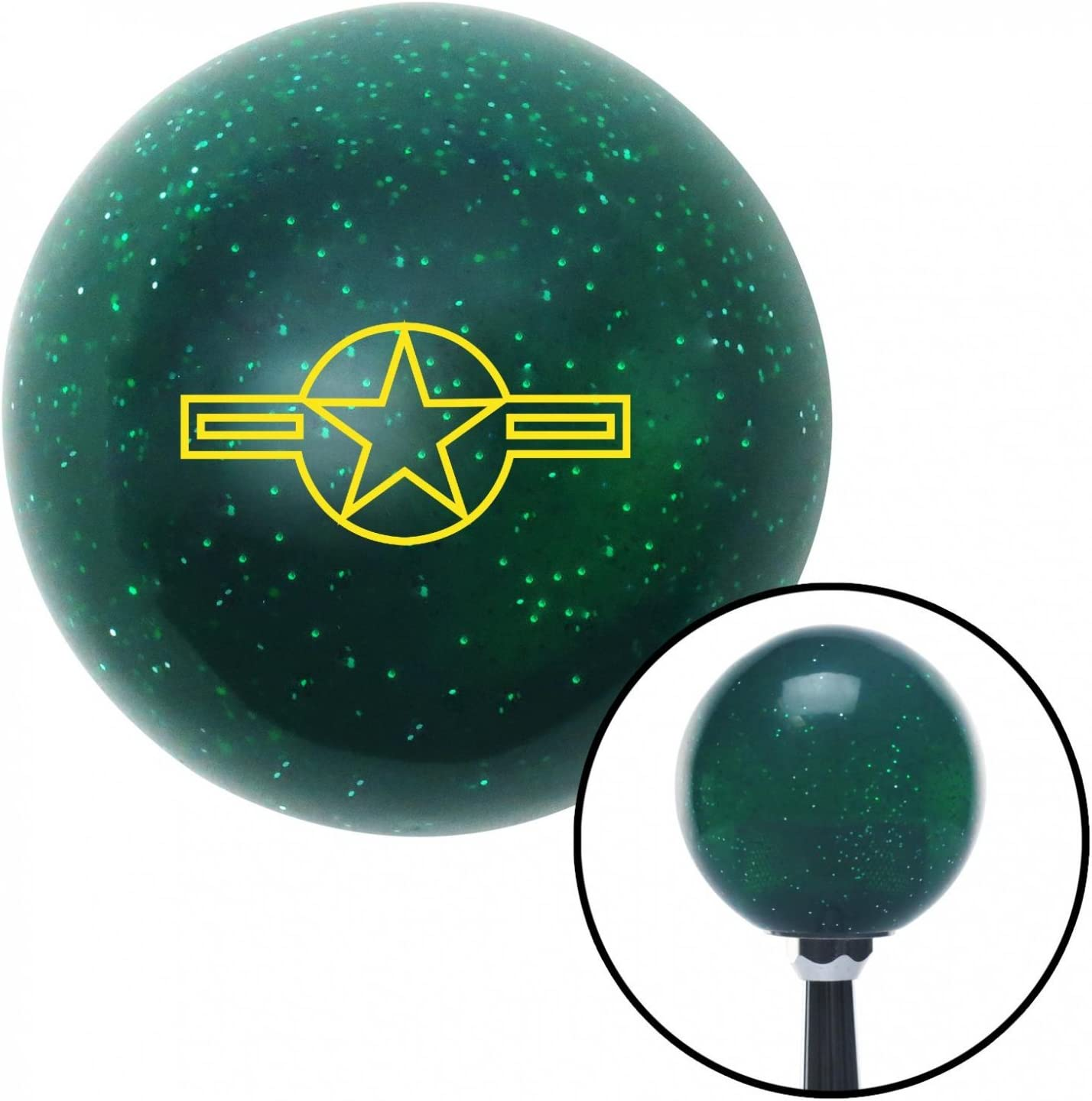 American Shifter 68415 Green Metal Flake Shift Knob with 16mm x 1.5 Insert Yellow US Air Force Star