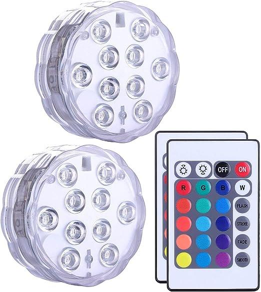 Luz Led Sumergible Multicolor Resistentes al Agua con Mando a ...