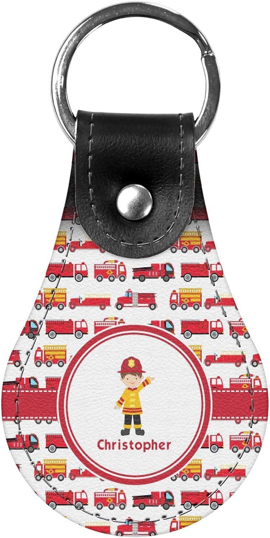 Personalized Firetrucks Genuine Leather Keychain