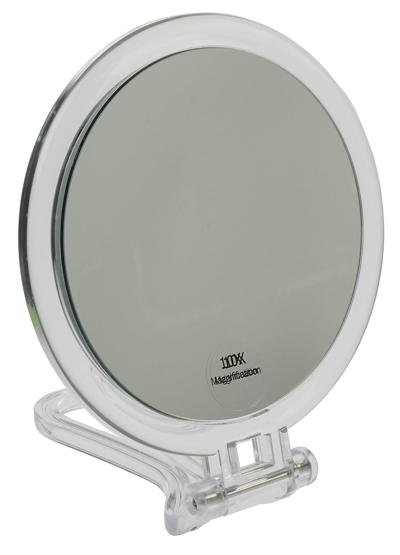 Fantasia–Specchio da viaggio, in acrilico, ingrandimento 10X, diametro: 16cm, con custodia, lunghezza 19/29,5cm 91447