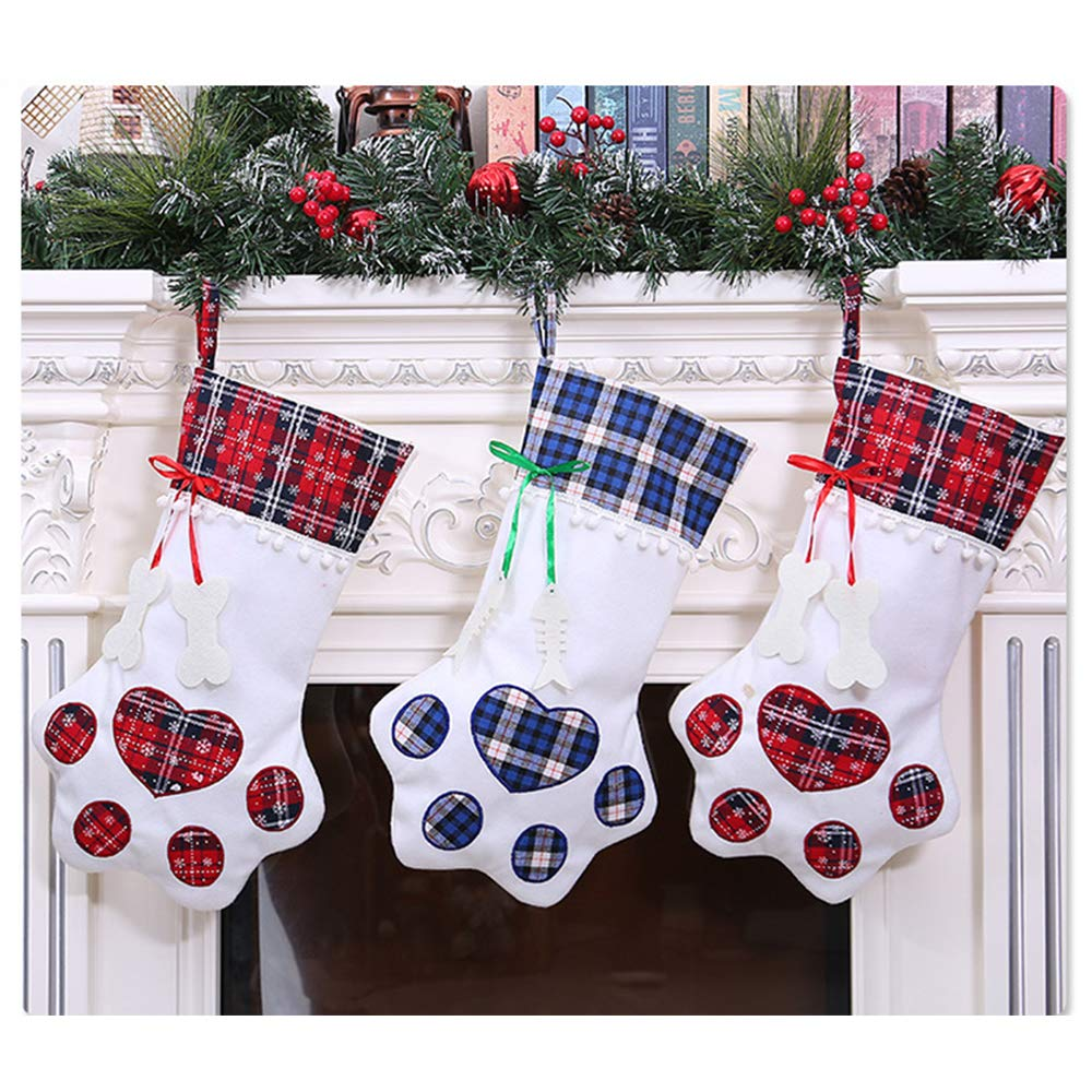 Personalized Dog Cat Paw Large Stocking Holders Gift Bag for Xmas Tree Hanging Decoration Home Fireplace Ornaments Green DegGod Christmas Pet Stockings 7.9inch X 18.1inch
