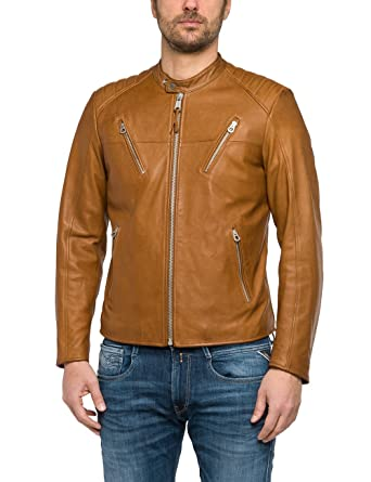 REPLAY Men's Men's Leather Light Brown Jacket 100% Leather at ...