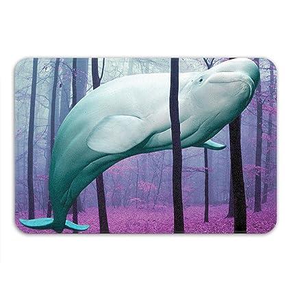 Beluga Whale Bath Mat Cute Bathroom Decor Nautical Theme Whimsical Art