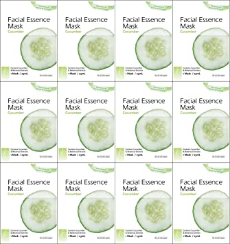 Epielle Cucumber Facial Essence Mask (12 Pack) 6 Pack - Andrea Eye Qs Eye Make-Up Remover Pads Moisturizing 65 Each