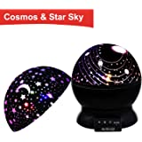 MOKOQI Baby Night Light Lamps For Bedroom Romantic 360 Degree Rotating Star with Sky Moon Cover +Cosmos Cover Projector Lights Color Changing LED For Kids Girls Boys Baby Nursery Gift(Black-2 Lids)