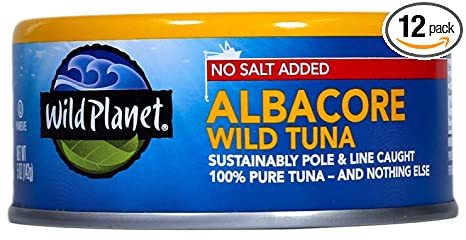 Wild Planet Wild Albacore Tuna, No Salt Added, Keto And Paleo, 3rd Party Mercury Tested, 5 Ounce (Pack Of 12) by Wild Planet