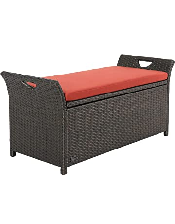 Superb Outdoor Wicker Storage Bench Pabps2019 Chair Design Images Pabps2019Com