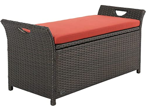 Ulax Furniture Outdoor Storage Bench Rattan Style Deck Box w/Cushion