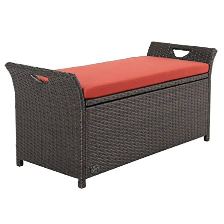 Ulax furniture Outdoor Storage Bench Rattan Style Deck Box w Cushion