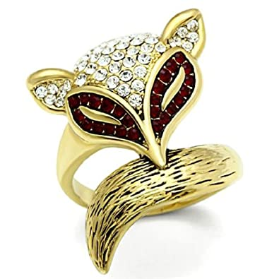 605a32176 Amazon.com: Gold Lust Multi Color Crystal Fox Ring, Ion Gold Plating ...