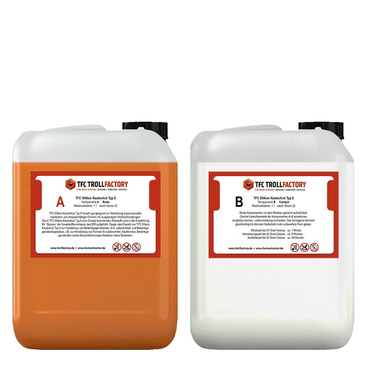 TFC Silikon Kautschuk Typ 6 I Dubliersilikon lebensmittelecht I weich, 500 g (2 x 250 g) TFC Troll Factory
