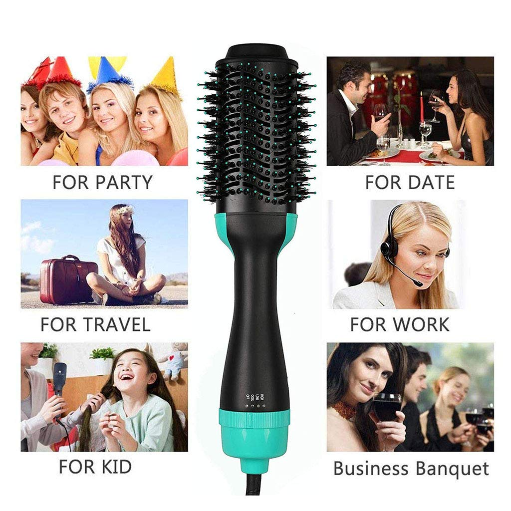 One Step Hair Dryer, 3-in-1 Hot Air Brush Salon Negative Ionic Straightener Volumizer Brush Curler Comb with Anti-Scald Feature for All Hairstyles,Green by GZD (Image #3)