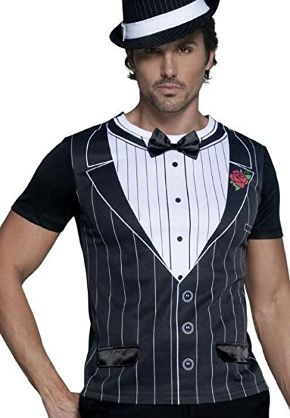 amazon com male gangster suit tuxedo costume shirt size medium