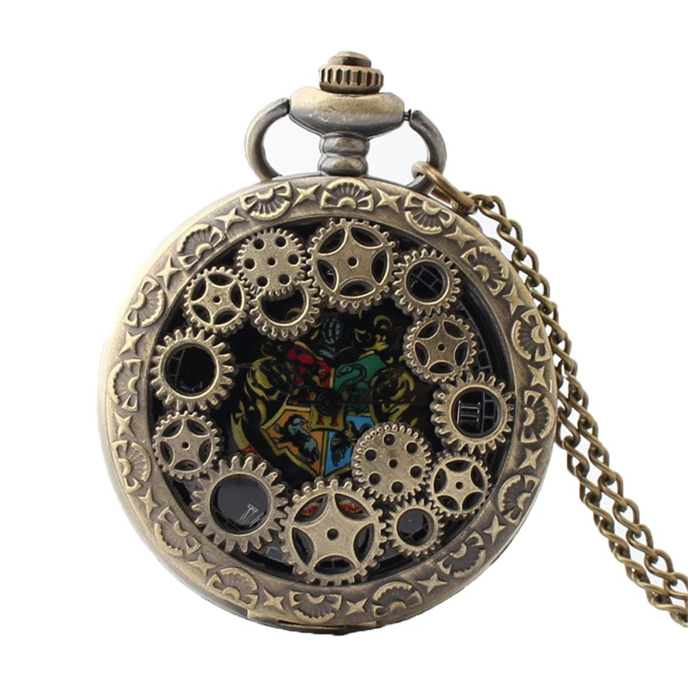 Zxcvlina Exquisite Creative Gear Carved Vintage Hollow Quartz Pocket Watch with Chain for Boys and Girls Metals Suitable for Mens Pocket Watch Gift