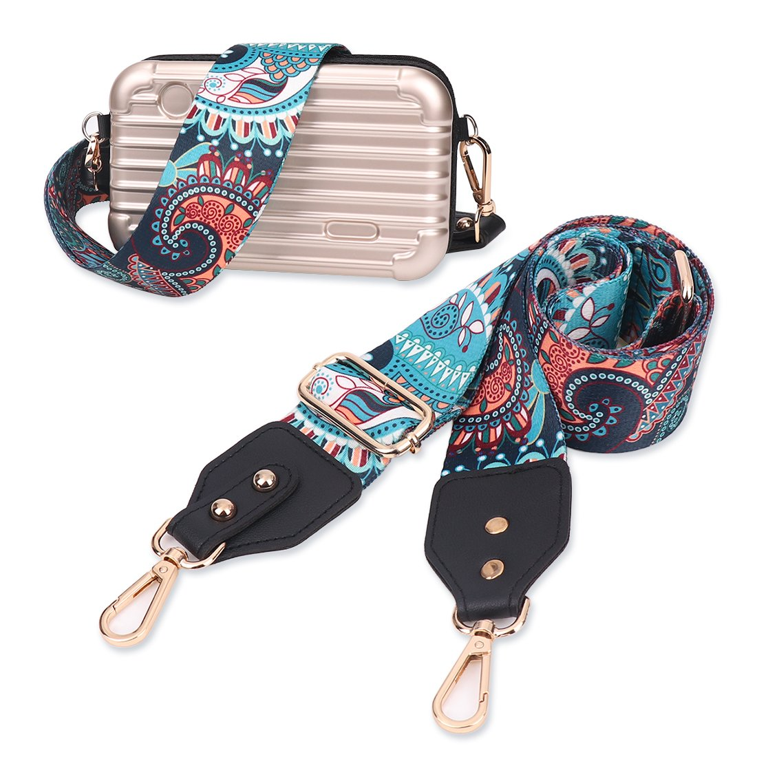 Louty 2'' Wide Adjustable Handbag Purse Strap Replacement Guitar Style Multicolor Canvas Crossbody Bag Straps by LOUTY (Image #6)