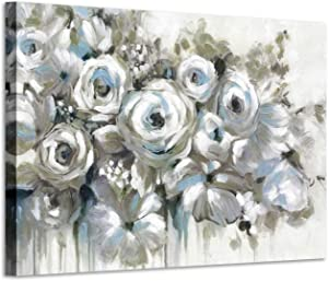 White Rose Canvas Flower Painting: Abstract Floral Bouquet Artwork Hand Painted Picture for Bedroom (36'' x 24'' x 1 Panel)