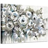 White Rose Canvas Flower Painting: Abstract Floral Bouquet Artwork Hand Painted Picture for Bedroom (36'' x 24'' x 1…