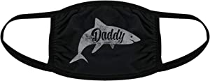 Daddy Shark Face Mask Funny Viral Meme Kids Song Graphic Nose and Mouth Covering (Black) - 1 Pack