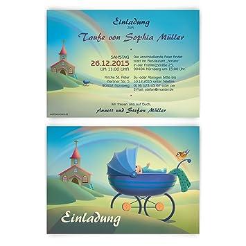 Schön Einladungen Zur Taufe (30 Stück) Regenbogen Kirche Geburt Karten  Einladungskarten