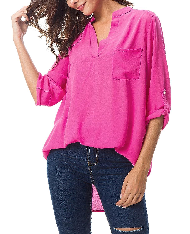 90ea7fad804 Urban GoCo Women s V-Neck Solid Color Loose Chiffon Blouse Cuffed Sleeve  Tops (XL
