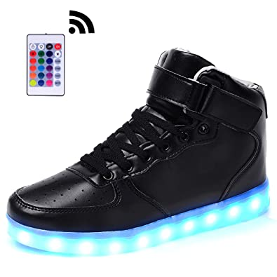 Odema Unisex High Top LED Light Up Shoes Flashing Sneakers Mens Womens  Girls Boys Black 3e4a815b9a