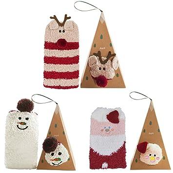 Coxeer Navidad Calcetines Damas Medias para Navidad Regalo Calcetines para Adultos (3 Pair Kombinationen): Amazon.es: Hogar