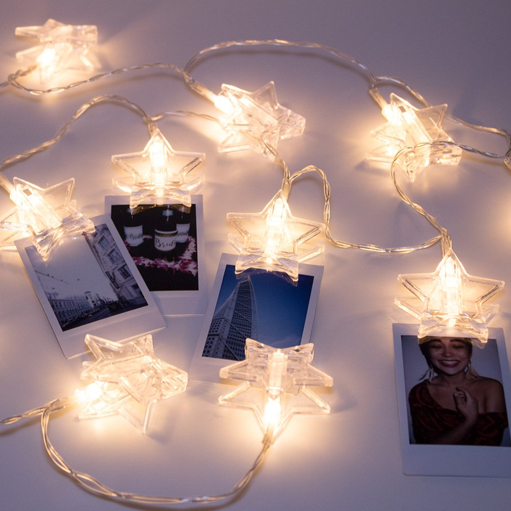 LuxLumi Star Light Star Bright Photo Clip 20 LED String Lights for Hanging Pictures or Notes Party Gift Apartment Bedroom Living Room Home Dorm Decor Kids Teens & Kitchen (7.5FT)