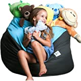 Storage Bean Bag Chair Soft Toys, Stuffed Animals, Clothes, Linens Blankets. 2 Sizes in-1 Expands to Reach XXL. Large Seating Area. Choose from 4 Stylish Designs. by SMART WALLABY