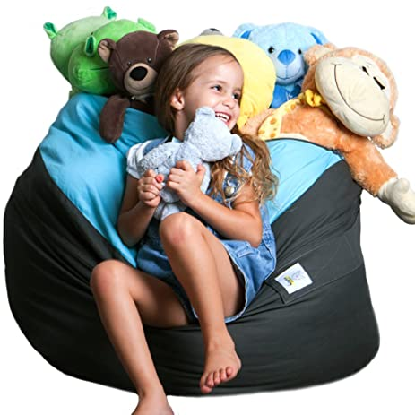 2 Sizes In 1 XXL Expandable Childs Stuffed Animal Storage Bean Bag Chair