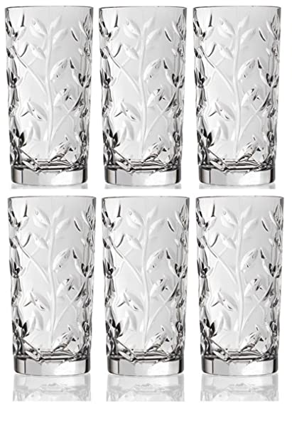 deea7339be7 Crystal Highball Glasses  Set of 6  Drinking Glasses for Water
