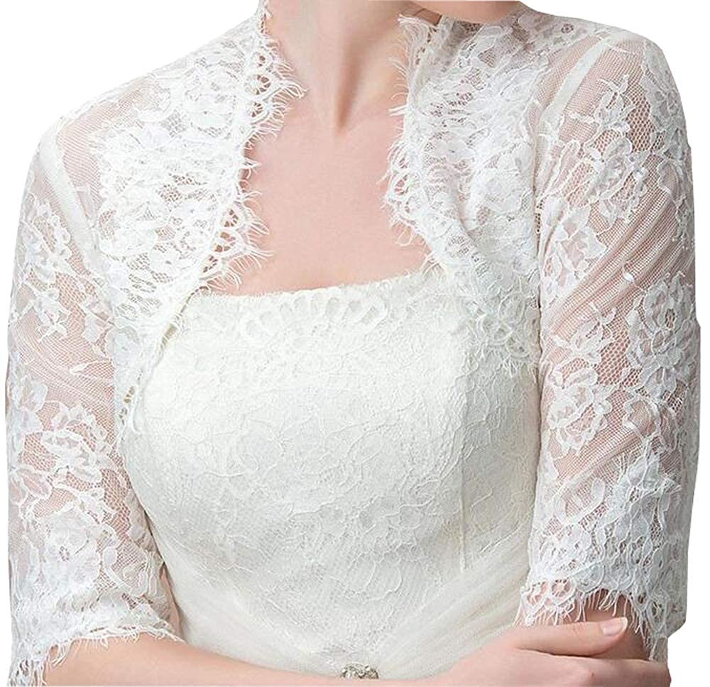 1 2 Long Sleeve Jacket Dresses For Women Lace Wedding Jackets For