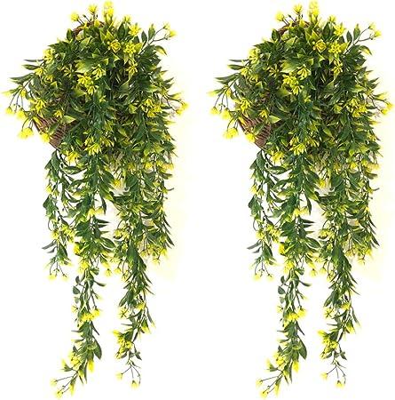 YGSAT® 2 PCS Plantas Hiedra Artificial,Guirnalda Hiedra Artificial De Hogar Boda Jardín Valla Escalera Ventana para Decoración Decoración Interior y Exterior/Amarillo: Amazon.es: Hogar