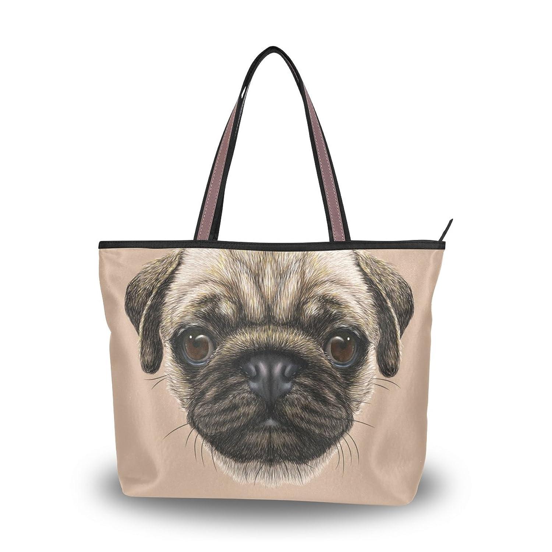Women's School Large Handbag Shoulder Bags,Cute Pug Dog Head,Tote Bag