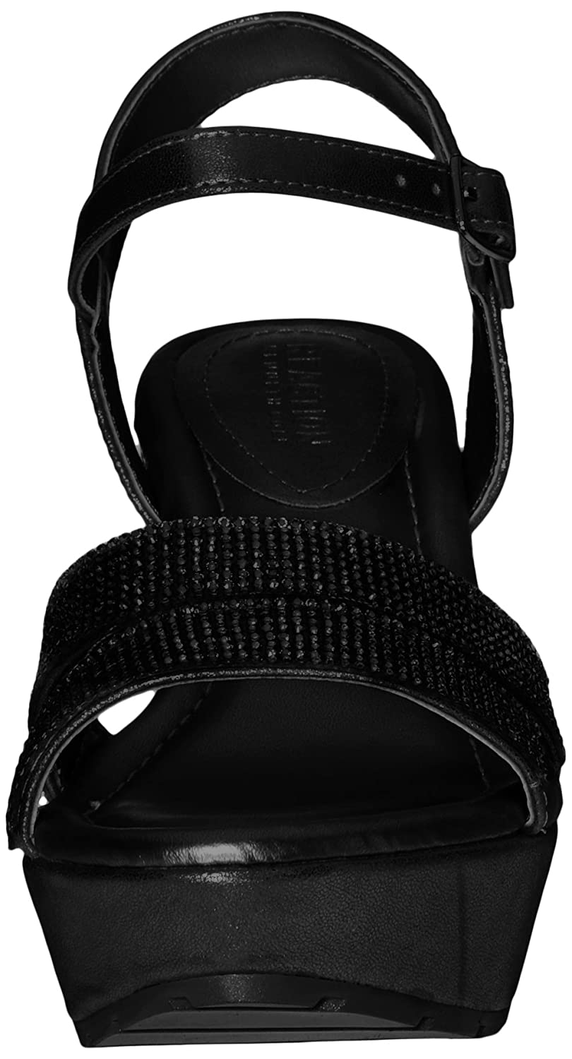 Kenneth Cole REACTION Women's Sole Sparkle Espadrille Wedge Sandal B01JGOW0TE 5 B(M) US|Black