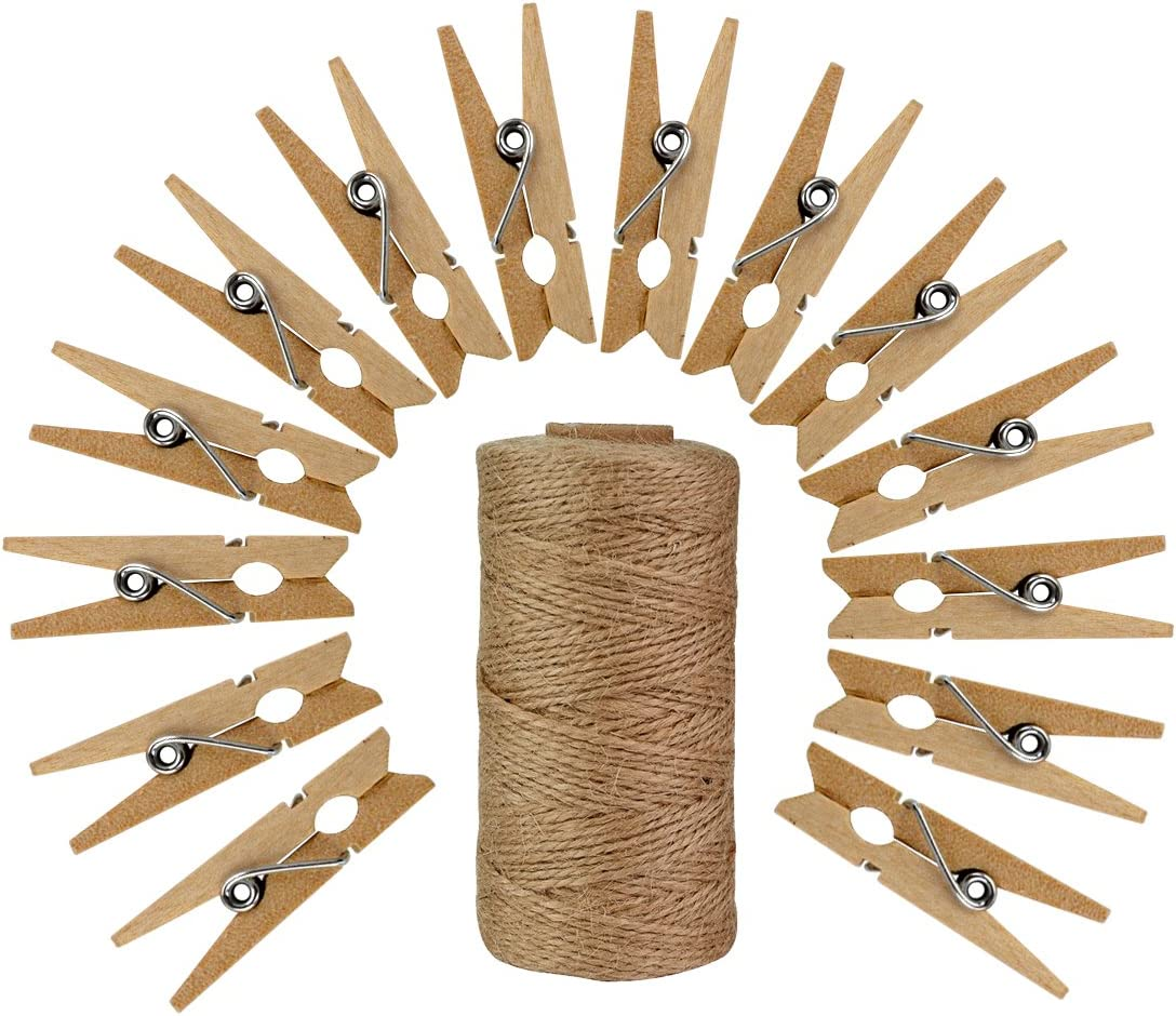 50pcs Wood Clothes Pins with 320 Feet Natural Jute Twine, Jmkcoz 3.5cm Mini Pins for Clothes Pictures Clothes Pins Art Craft Photo Picture Hanging Clips Clothespins
